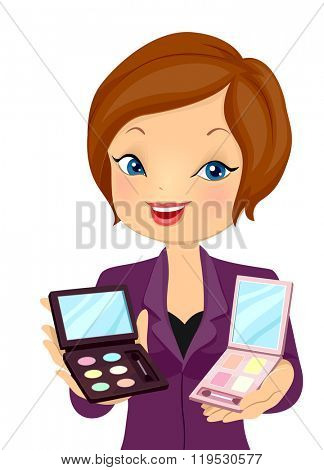 Illustration of a Beauty Consultant Recommending Cosmetic Products