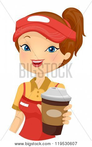 Illustration of a Female Cafe Employee Serving Coffee To Go