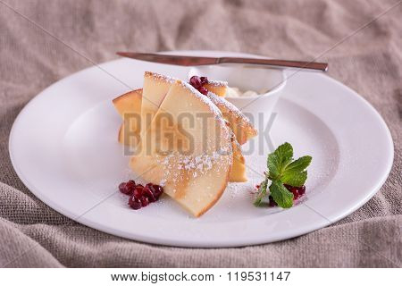 Pancakes With Butter And Berries Cowberry