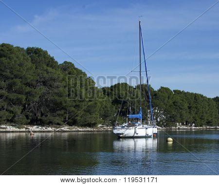 Sail boat is resting in Mediterranean Sea, Jadrija.