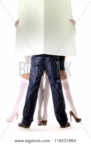 Man And Womans Holding Empty White Board