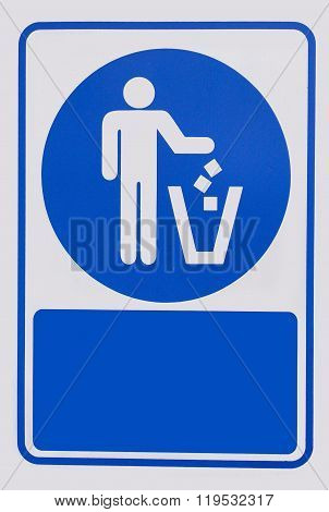 Recycled Symbol Over Blue And White Background. Man Throwing Trash Into Dust Bin. Keep Clean