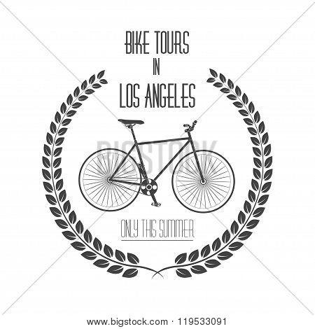 Bicycle tours label, logo. Vintage monochrome vector illustration