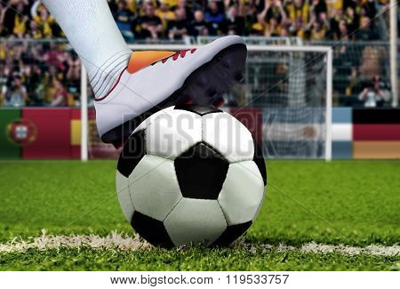 Soccer Penalty Kick With Spectator Background
