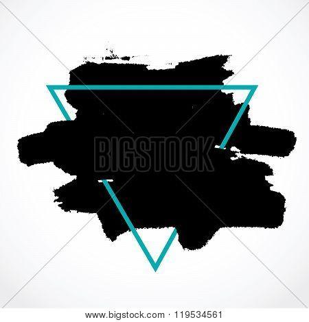 Smear Ink Brush In Blue Triangular Frame