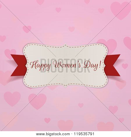 Happy Womens Day greeting Card with Ribbon