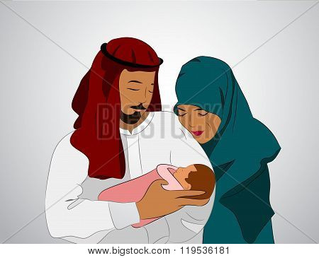 Traditional Muslim Family