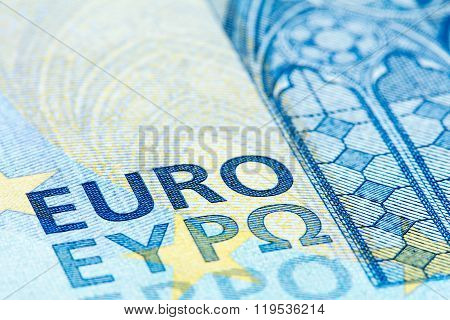 Detailed Close Up Of A Twenty Euro Banknote