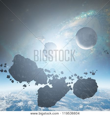 Asteroids and planets on a starry background.
