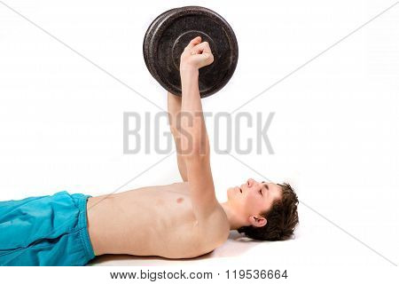 Teenage Boy Doing Weight Training