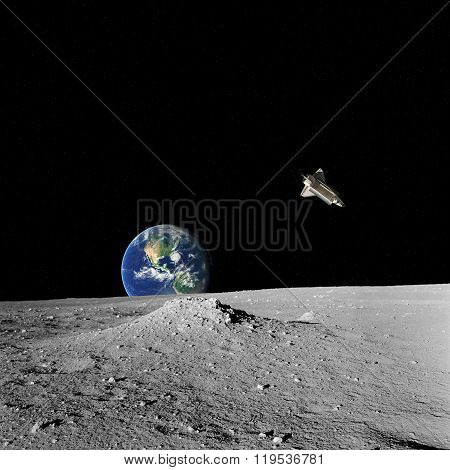 Earth rising from a Moon's horizon with space - shuttle on a starless background.