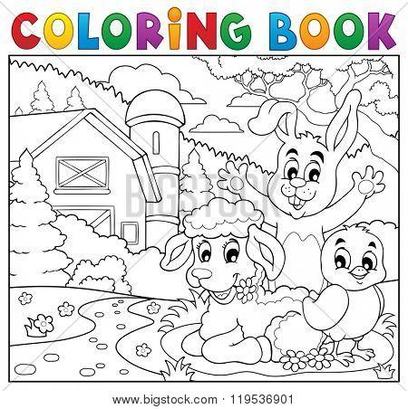 Coloring book happy animals near farm - eps10 vector illustration.
