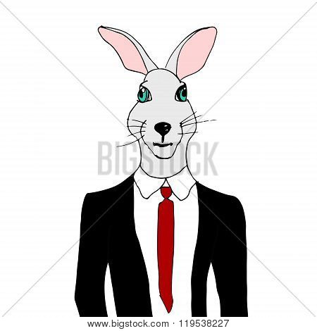 Rabbit In A Tuxedo. Bunny In A Suit