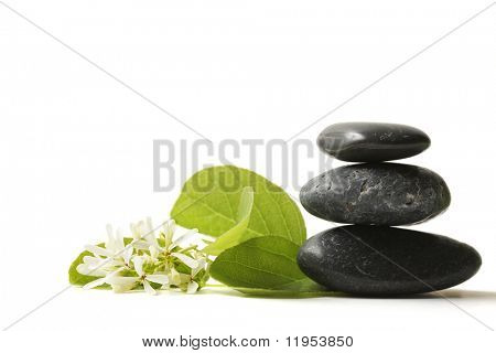 Stacked stones with flower