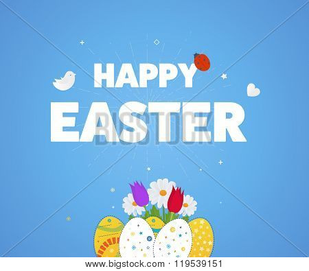 Happy Easter Card with Eggs, Grass, Flowers. Poster, greeting card.