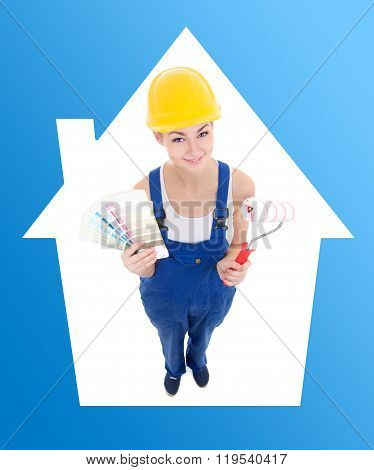 Young Woman Painter In Workwear With Colorful Palette And Paintbrush