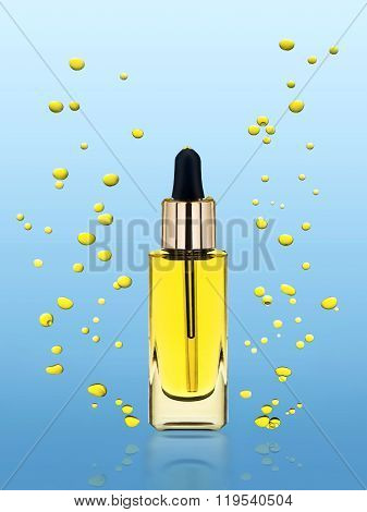 Moisturizing cosmetic  oil stands on the blue background