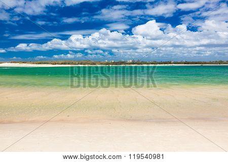 Hot sunny day at Bulcock Beach Caloundra, Queensland, Australia, view of Bribie Island