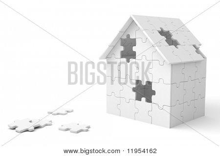 Casa construida de piezas del puzzle