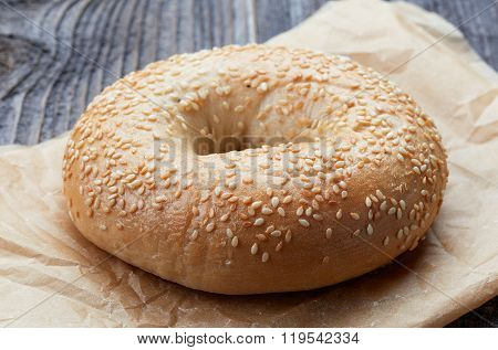 Sesame Bagel On Wooden Table