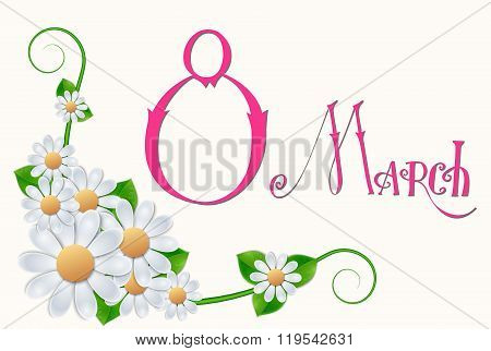 Elegant greeting card design with text 8 March