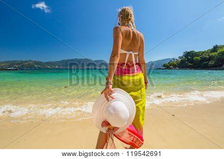 Woman in tropical beach