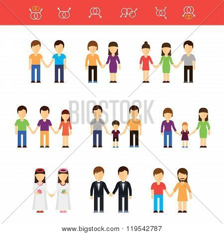 Vector flat illustration of same-sex couples male or female. Transgender partner, transgressive phen