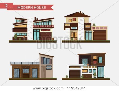 Vector flat illustration traditional and modern house. Family home. Office building. Private pavemen