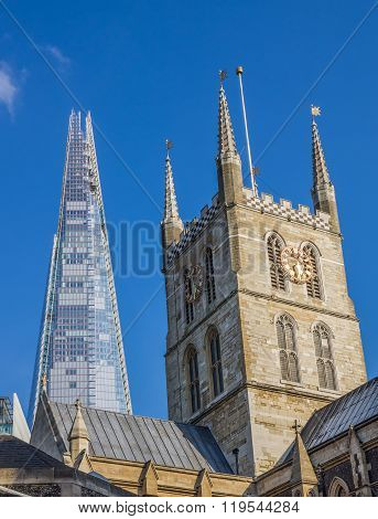 LONDON, UNITED KINGDOM 3 MAY 2014 - Southwark Cathedral with the Shard Skyscraper Behind