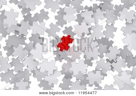 Puzzle pieces with one red piece