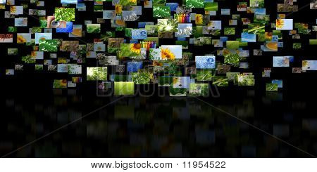 Scattered images with reflection