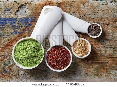 Barley Or Wheat Grass Powder, Red Quinoa, Maca Powder And Chia Seeds