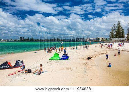 CALOUNDRA, AUS - FEB 22 2016: Hot sunny day at Bulcock Beach Caloundra, Queensland, Australia