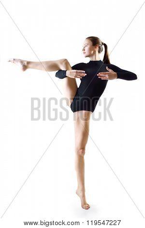 Dancing girl, over white