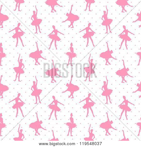 Pink Ballerinas On Polka Dot Background Seamless Vector Pattern