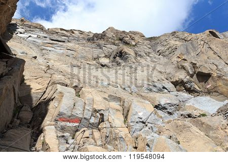 Steel Cable From A Via Ferrata In A Mountain Rock Face, Hohe Tauern Alps, Austria