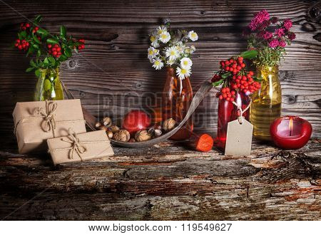 Gifts In Autumn Decoration