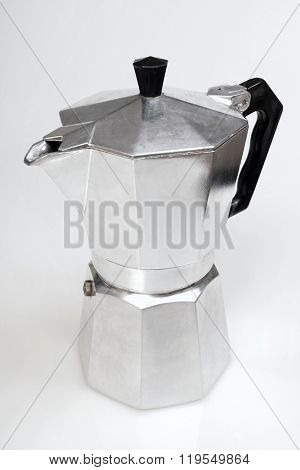 Metal coffee maker on a white background.