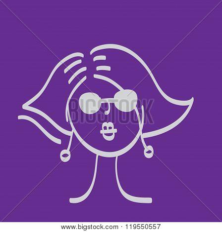 Hand drawn model woman vector icon illustration