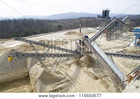 Two  Belt Conveyors In Gravel Quarry