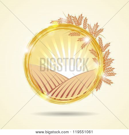Abstract vector illustration of a wheat field at sunset