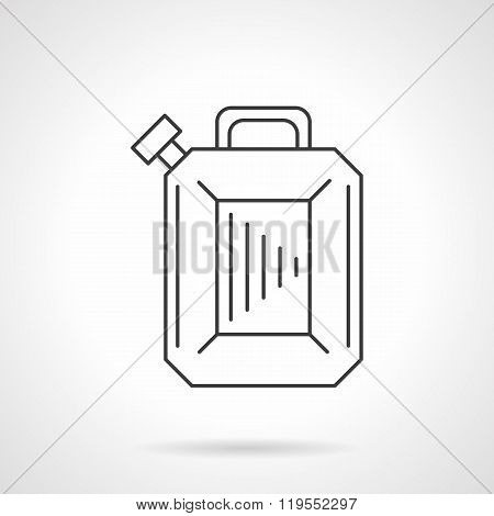 Gasoline canister flat line design vector icon