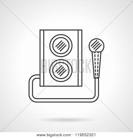 Microphone and subwoofer flat line vector icon