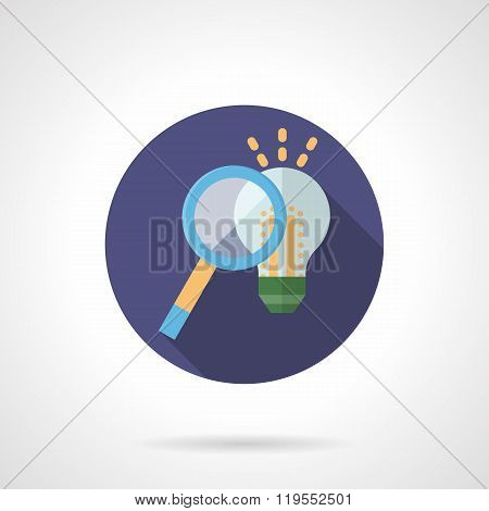 Idea search flat color round vector icon