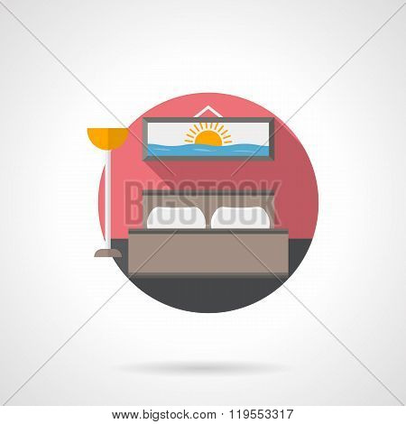 Hotel room detailed flat color vector icon