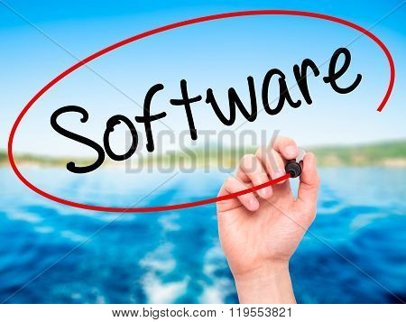 Man Hand Writing Software  With Black Marker On Visual Screen.