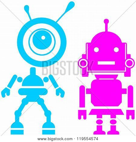 Two cute robots, girl and guy