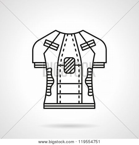 Cycling shirt flat line vector icon
