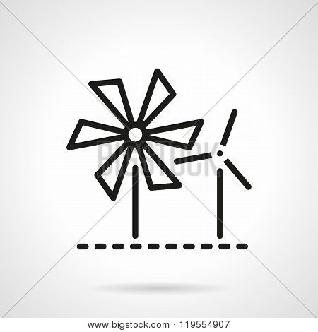 Wind turbine and mill black line vector icon