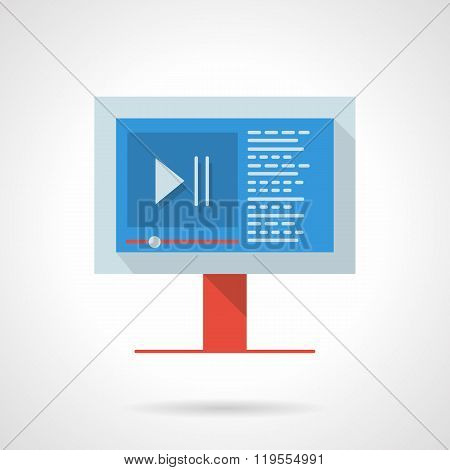 Video blog flat color design vector icon